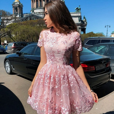 Elegant Short Sleeve Homecoming Dresses   Pink Lace Mini Party Gowns_2