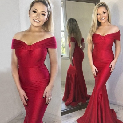 Charming Off-the-shoulder Red Prom Dress | Mermaid Long Evening Gowns With Zipper_4