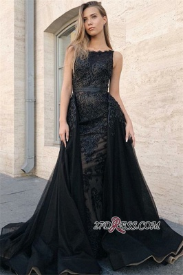 Elegant Black Over-Skirt Prom Dresses | Scoop Sleeveless Lace Appliques Evening Dresses_2