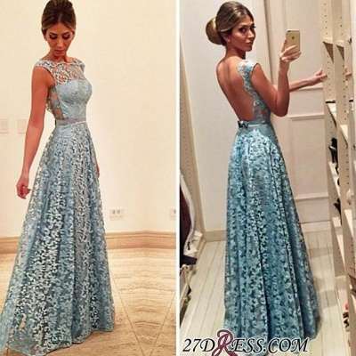 2020 Newest A-line Bow Lace Floor-length Backless Evening Dress_2