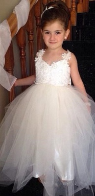 Delicate Tulle Lace Appliques Flower Girl Dress With Bowknot_1