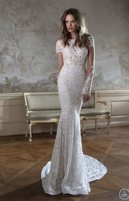 Modern Bateau Cap Sleeve Mermaid Wedding Dress Open Back With Lace Beadings_3