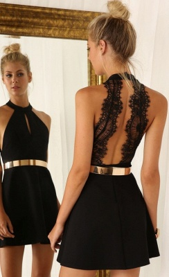 Sexy Black Halter Lace Sleeveless Homecoming Dress With Golden Belt_1