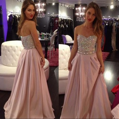 2020 A-line Elegant Sweetheart-Neck Crystals-Top Long Pink Prom Dresses_2
