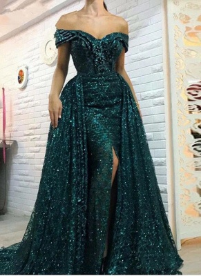 Gorgeous Green Bling Off-the-shoulder Evening Dress | Front Split Party Dress BC0427_1