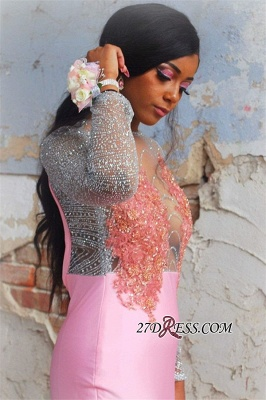 Pink Long-Sleeves Backless Mermaid Prom Dress | Glamorous Flower Appliques Evening Gown_2