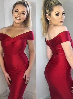 Charming Off-the-shoulder Red Prom Dress | Mermaid Long Evening Gowns With Zipper_5