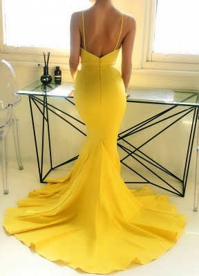 Bright Mermaid Sleeveless Spaghetti Strap Evening Dress | Yellow V-Neck Zipper Prom Gown On Sale BM0937_2