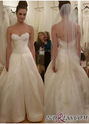 Sleeveless Princess Elegant Zipper Sweetheart Wedding Dress_2