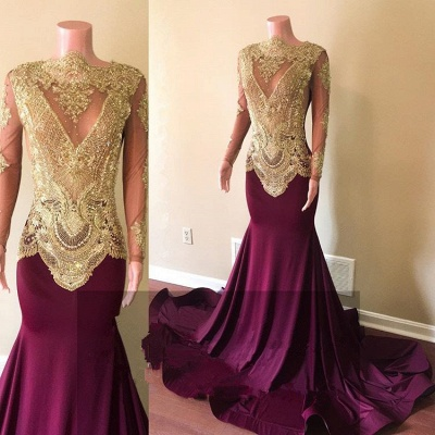 Gorgeous Long Sleeve Prom Dresses | 2020 Mermaid Gold Appliques Evening Gowns_2
