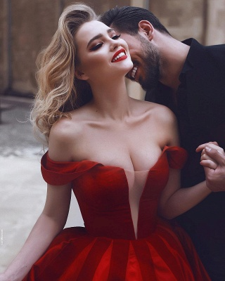 Glamorous Off-the-Shoulder Evening Dress | 2020 Red Long Prom Dress_4