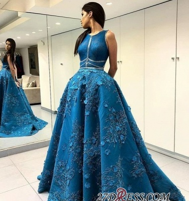Blue Sleeveless Prom Dress | 2020 Princess Evening Gowns With Lace Appliques BA9500_2