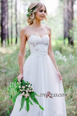 2020 Beadings A-Line Simple Cheap Spaghetti-Straps Tulle Wedding Dress_3