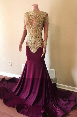 Gorgeous Long Sleeve Prom Dresses | 2020 Mermaid Gold Appliques Evening Gowns_1