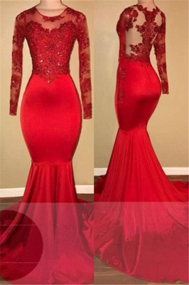 Red lace mermaid prom dress, long sleeve evening gowns RM0_1