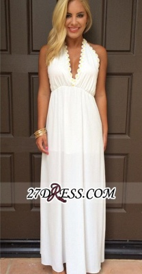 Backless White Maxi Attractive Halter V-Neck Summer Prom Dresses_3