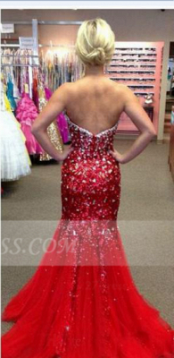 Sequins Red Mermaid Prom Dresses 2020 with Gowns Sweetheart Sleeveless Crystal Beading Zipper Sweep Train Evening_2