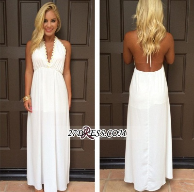 Backless White Maxi Attractive Halter V-Neck Summer Prom Dresses_1