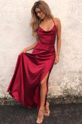 Sexy Red Sleeveless Spaghetti Strap 2020 Prom Dress Front Split Long Backless_1