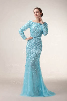 Bateau Long Sleeves Evening Dresses 2020 Mermaid Sequined prom Gowns_4
