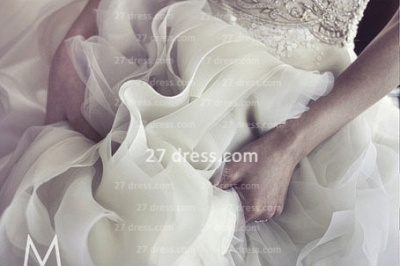 New Backless Sheer A-Line Wedding Dresses 2020 Bateau Beaded Appliques Ruffles Bridal Gowns With Court Train_4