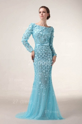 Bateau Long Sleeves Evening Dresses 2020 Mermaid Sequined prom Gowns_2