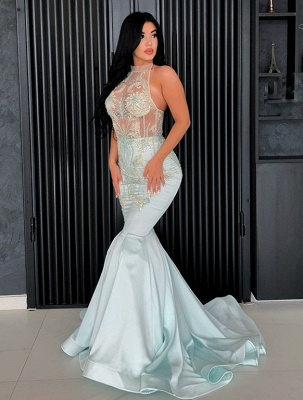 Chic Halter Mermaid Prom Dresses | 2020 Lace Appliques Long Evening Gowns BC1192_1
