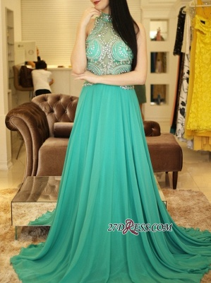 Long chiffon prom dress, eveing dress with crystal_4