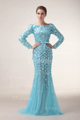 Bateau Long Sleeves Evening Dresses 2020 Mermaid Sequined prom Gowns_1