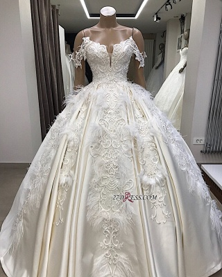 Off-the-shoulder Appliques Satin Ball-Gown Feathers Amazing Wedding Dresses_3