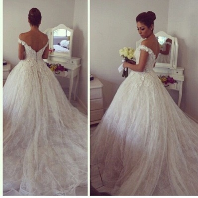 Gorgeous Off-the-Shoulder Ball Gown Wedding Dress 2020 Tulle Lace Appliques_3