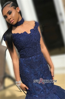 Navy Blue Off-The-Shoulder Mermaid Prom Dress | 2020 Lace Appliques Beaded Prom Gown_2