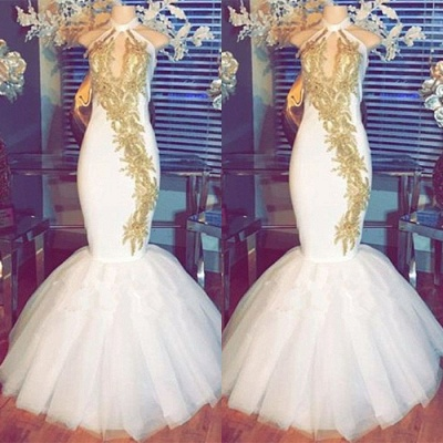 White Mermaid Prom Dress | 2020 Halter Evening Gowns With Gold Appliques BA8790_3