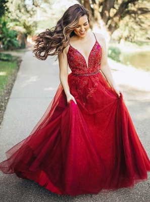 Gorgeous Sleeveless Spaghetti Strap Evening Gowns   Red Tulle Lace Appliques Prom Dress_2