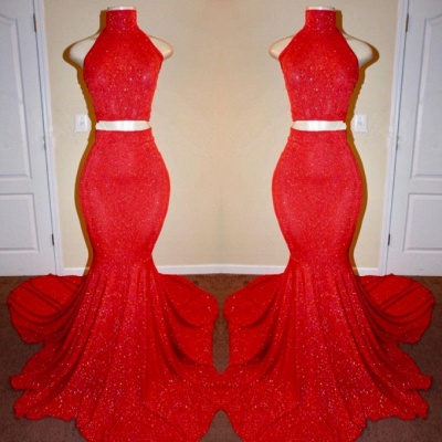 Sexy Red Two Pieces Prom Dresses | 2020 Mermaid Long Evening Gowns_2