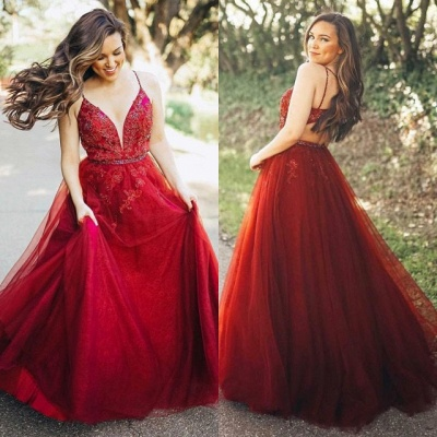 Gorgeous Sleeveless Spaghetti Strap Evening Gowns   Red Tulle Lace Appliques Prom Dress_4