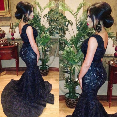 Fashion V-neck Black Beaded Lace Mermaid Prom Dresses Sweep Train Backless Evening Gowns_2