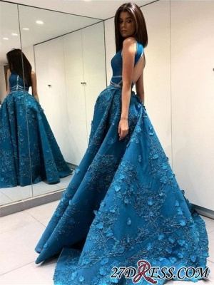 Blue Sleeveless Prom Dress | 2020 Princess Evening Gowns With Lace Appliques BA9500_3
