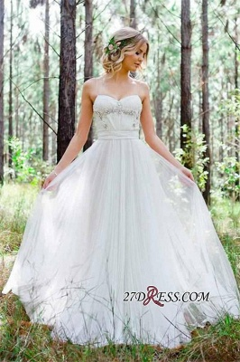 2020 Beadings A-Line Simple Cheap Spaghetti-Straps Tulle Wedding Dress_4