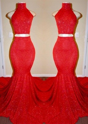 Sexy Red Two Pieces Prom Dresses | 2020 Mermaid Long Evening Gowns_1