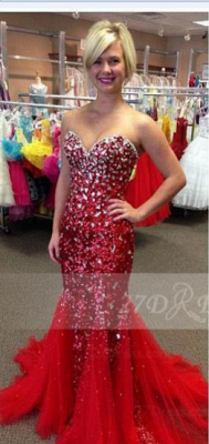 Sequins Red Mermaid Prom Dresses 2020 with Gowns Sweetheart Sleeveless Crystal Beading Zipper Sweep Train Evening_1