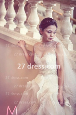 New Backless Sheer A-Line Wedding Dresses 2020 Bateau Beaded Appliques Ruffles Bridal Gowns With Court Train_2