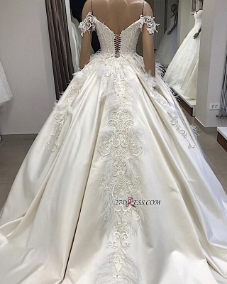 Off-the-shoulder Appliques Satin Ball-Gown Feathers Amazing Wedding Dresses_2