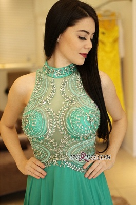 Long chiffon prom dress, eveing dress with crystal_2