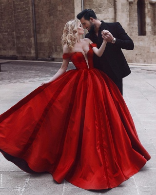 Glamorous Off-the-Shoulder Evening Dress | 2020 Red Long Prom Dress_3