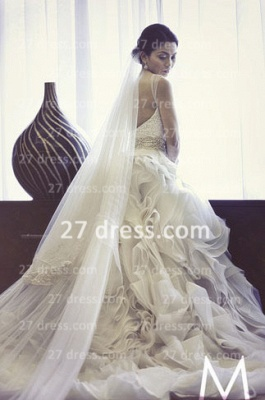 New Backless Sheer A-Line Wedding Dresses 2020 Bateau Beaded Appliques Ruffles Bridal Gowns With Court Train_5