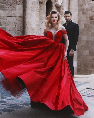 Glamorous Off-the-Shoulder Evening Dress | 2020 Red Long Prom Dress_5