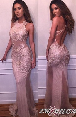 Halter Delicate Mermaid Lace-Appliques Sleeveless Prom Dress BA4359_2