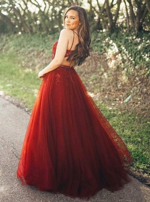 Gorgeous Sleeveless Spaghetti Strap Evening Gowns   Red Tulle Lace Appliques Prom Dress_3