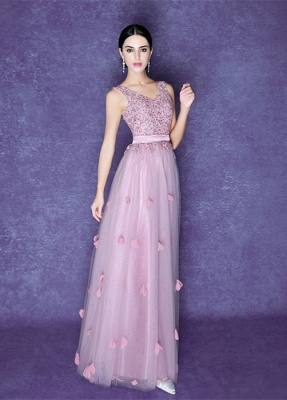 Romantic Flowers A-line Straps 2020 Prom Dress Beadings Tulle Floor-length BA5071_1